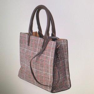 Brown Faux Leather Plaid Shoulder Bag